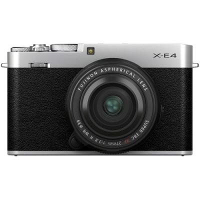 FUJIFILM X-E4 Mirrorless Kit Silver w/XF 27mm f2.8 R WR Lens